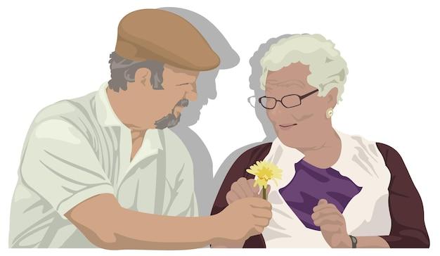 Großvater schenkt großmutter eine blume seniorenpaar
