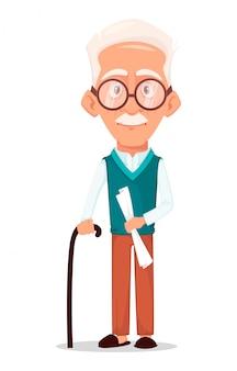 Großvater trägt eine brille