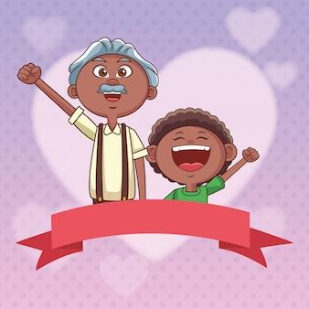 Großvater und enkel banner lieben