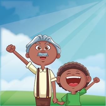 Großvater und enkel im freien