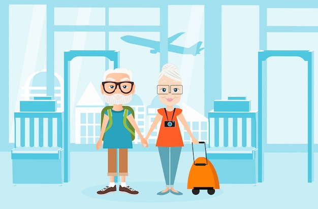Großvater und großmutter mit einem packsack unterwegs. reisen mit dem rucksack. illustration des flughafeninnenraums. reise-konzept.