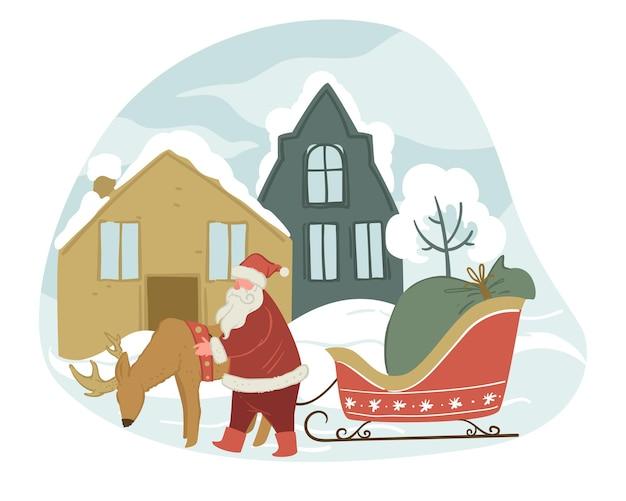 Großvaterfrost mit rentieren und schlitten in der winterstadt. grüße mit weihnachten und neujahr, saisonale feiertage. stadtbild mit schneebedeckten hausdächern. vektor im flachen stil