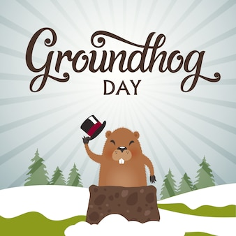 Groundhog day typografie vektor-design für grußkarten und poster