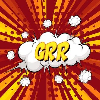 Grr-formulierung comic-sprechblase beim platzen