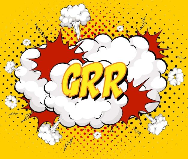 Grr-text auf comic-wolkenexplosion auf gelbem hintergrund