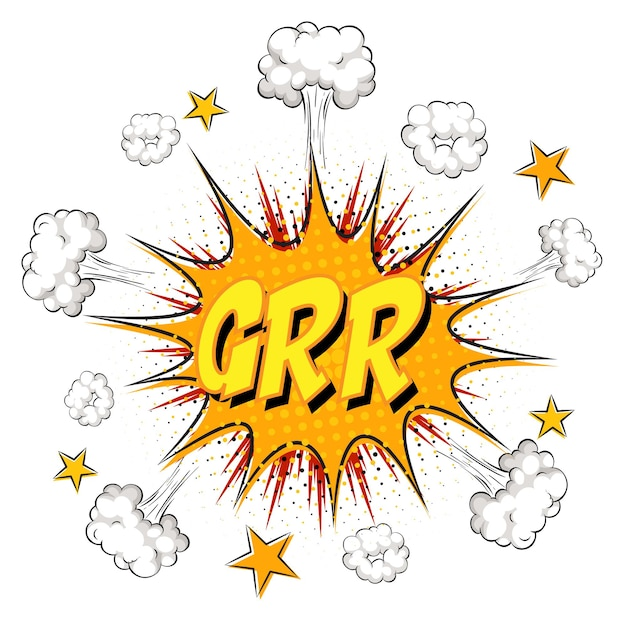 Grr-text auf comic-wolkenexplosion isoliert auf weißem hintergrund