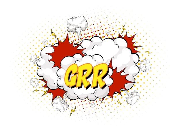 Grr-text auf comic-wolkenexplosion lokalisiert auf weißem hintergrund