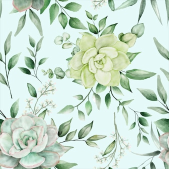 Grün aquarell floral nahtlose musterdesign