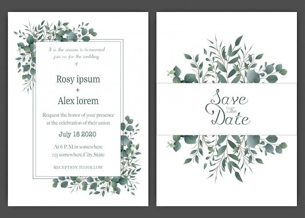 Grün-hochzeits-einladungskartenschablone, schablonen-eukalyptus