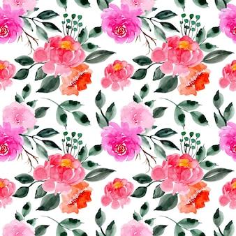 Grün und rosa aquarell nahtlose blümchenmuster