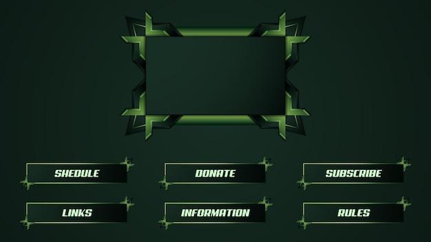 Grün zuckende streamer-panel-overlay-vorlage