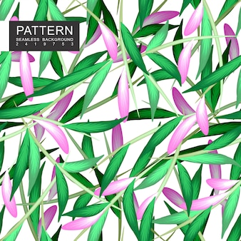Grünblätter mit nahtlosem blumenmuster der niederlassungen
