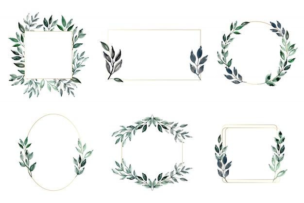Grünblätter und goldener rahmen mit aquarell