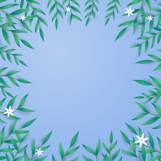 Grünblätter und miniblumen auf blauem hintergrund.