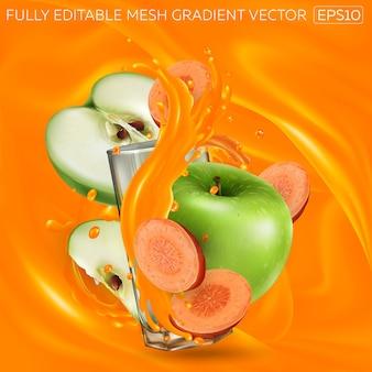 Grüne äpfel und karotten und ein glas spritzenden gemüsesaft auf einem hintergrund von karottensaft. realistische illustration.
