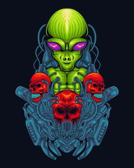 Grüne alien-illustration mit totenkopf, handgezeichnete digitale farblinien
