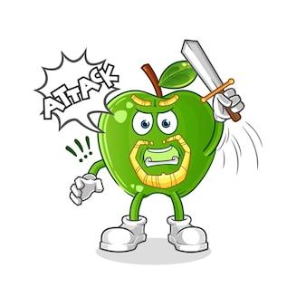 Grüne apfelritter greifen mit schwertcharakter an. cartoon maskottchen vektor