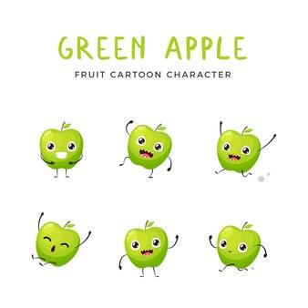 Grüne apple-maskottchen-sammlung. vektor-illustration