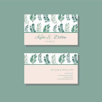 Grüne aquarell-geschäftskarten-schablone