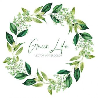 Grüne aquarellblätter und zweigkranz, hand gezeichnet