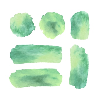 Grüne aquarellflecken und -anschläge