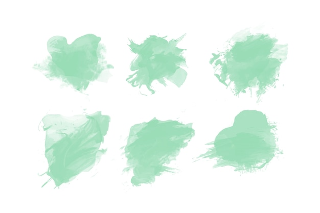 Grüne aquarellfleckensammlung