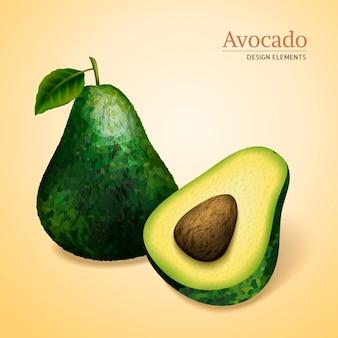 Grüne avocados, eine in scheiben geschnitten und hat einen samen, hellgelben hintergrund