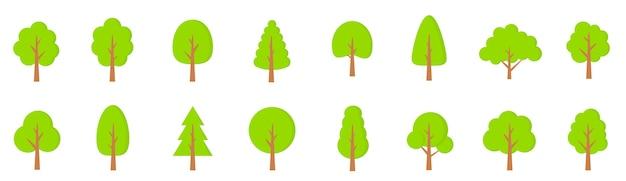 Grüne bäume gesetzt. flacher stil. flache waldbaumikone