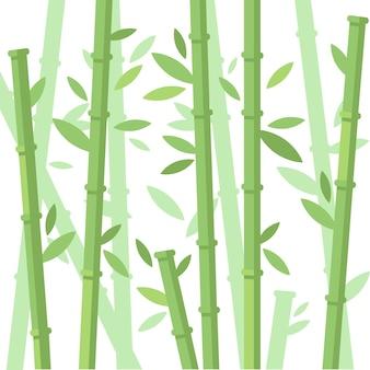 Grüne bambusbäume bambusstämme mit blättern auf weißem hintergrund flache vektorillustration