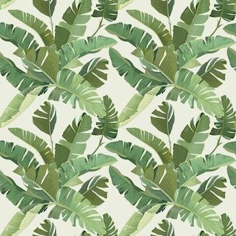 Grüne bananen-tropische palmblätter und niederlassungen nahtloses muster. papier- oder textildesign, regenwald-dekorative tapetenverzierung. botanischer tropischer druck auf beigem hintergrund. vektorillustration