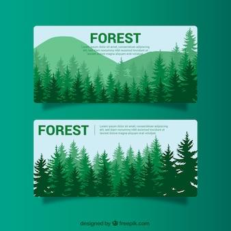 Grüne banner mit bäumen