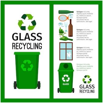 Grüne behälterinfo des abfalls mit glas