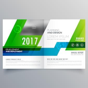 Grüne bi-fold broschüre vorlage design für ihr unternehmen