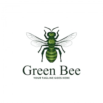 Grüne bienenlogo-designinspiration