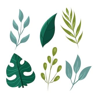 Grüne blätter im flachen design