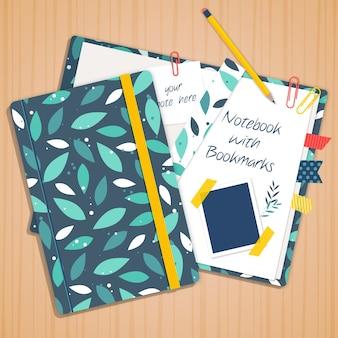Grüne blätter notebook