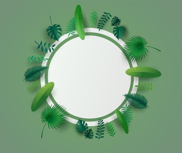 Grüne blätter oder laub mit weißem kreisrahmen.