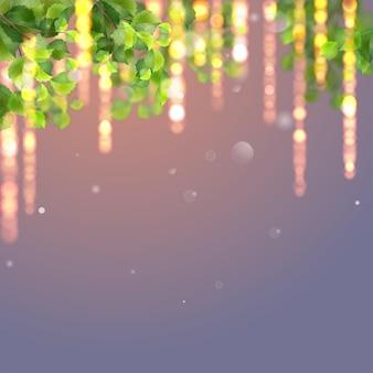 Grüne blätter und leuchtende lichter