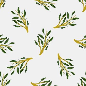 Grüne blätter zweige gekritzel nahtlose muster. heller hintergrund. naturkräuterhintergrund. flacher vektordruck für textilien, stoffe, geschenkpapier, tapeten. endlose abbildung.