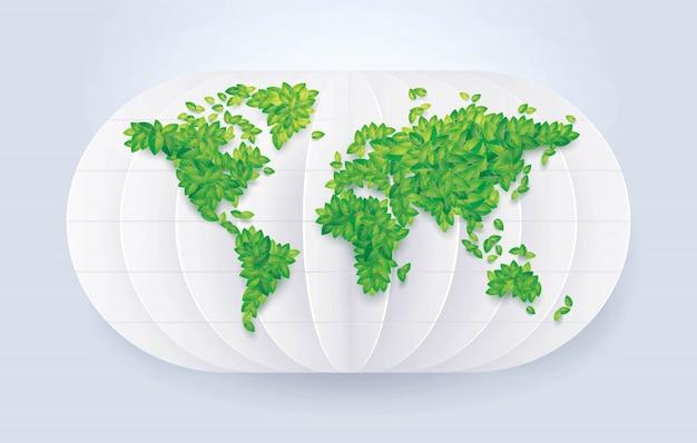 Grüne blatt-weltkarte, außer der welt, blatt-erdkugelkarte im abstrakten weißen hintergrund