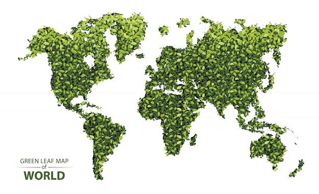 Grüne blattkarte der welt