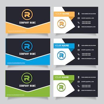 Grüne, blaue, orange und schwarze dunkle moderne kreative visitenkarte und visitenkarte