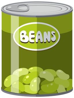 Grüne bohnen in aluminiumdose