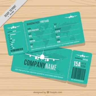 Grüne bordkarte mit weißen flugzeugen