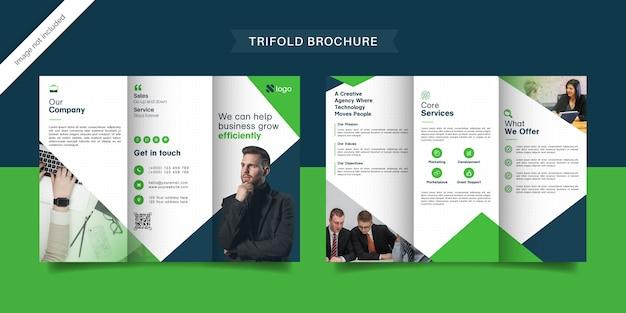 Grüne business-trifold-broschürenvorlage