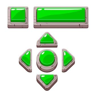 Grüne cartoon-steinknöpfe für spiel- oder webdesign