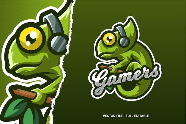 Grüne chamäleon tragen kopfhörer e-sport-spiel logo-vorlage