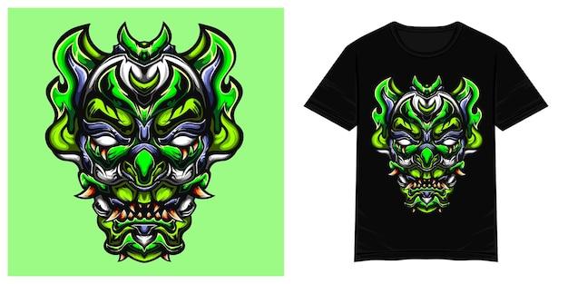 Grüne clownmonster-vektor-t-shirt-illustration