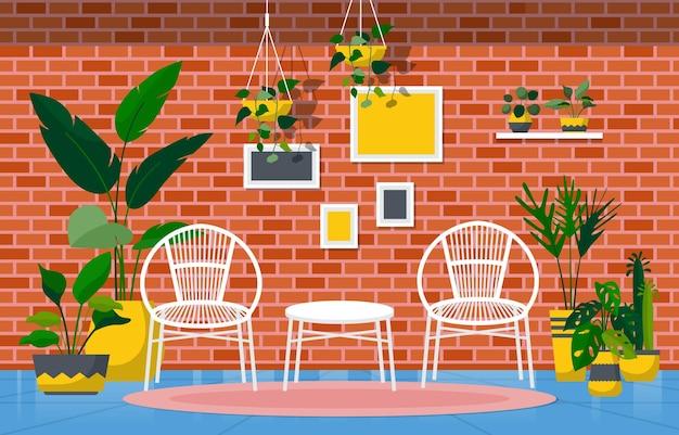 Grüne dekorative pflanze der tropischen zimmerpflanze im wohnzimmer