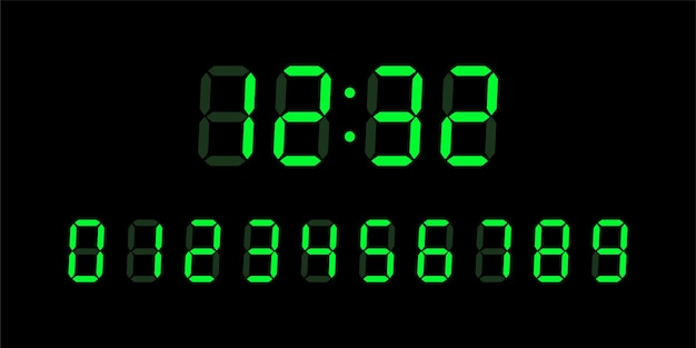 Grüne digitale leuchtende zahlen für bildschirm des elektronischen lcd-geräts auf schwarzem hintergrund. uhr, timer-konzept. illustration